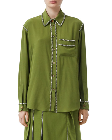 Burberry Gem-Trim Silk Button-Front Shirt