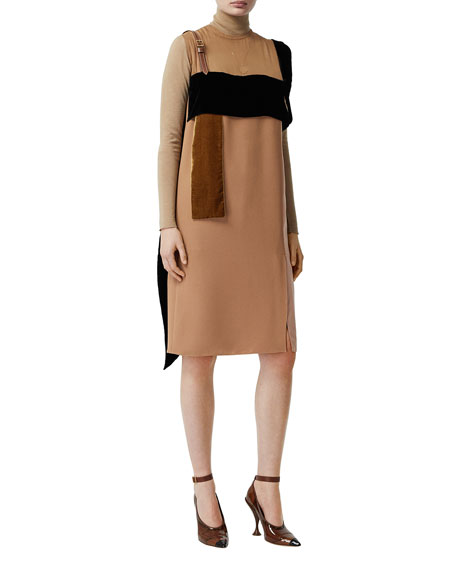 Burberry Leather-Strap Chiffon Mix Dress