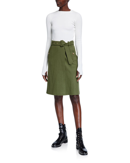 Image 1 of 2: Burberry Two-Tone Silk-Top Dress with Wool Knit Skirt