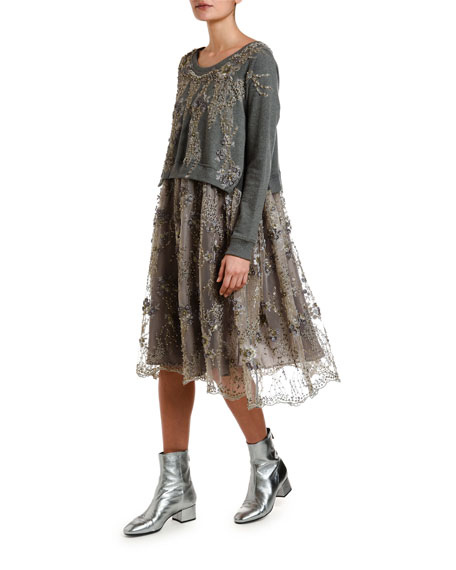 Antonio Marras Lace-Embroidered Sweatshirt-Top Dress