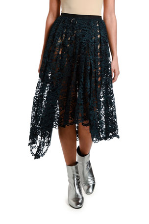 Antonio Marras Pleated Knee-Length Lace Skirt