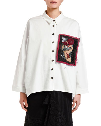 Button-Front Swing Shirt with Patch Detail