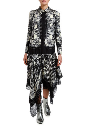 Antonio Marras Rose Foulard Asymmetric Shirtdress