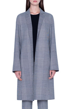 Akris Wool Plaid-Lined Coat