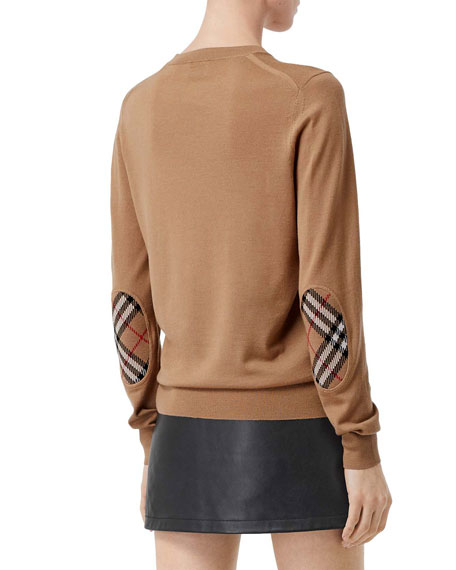 Burberry Bempton Elbow-Patch Knitted Sweater