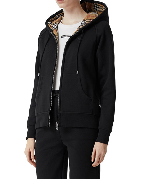 Burberry Vintage Check Lined Zip-Front Hoodie