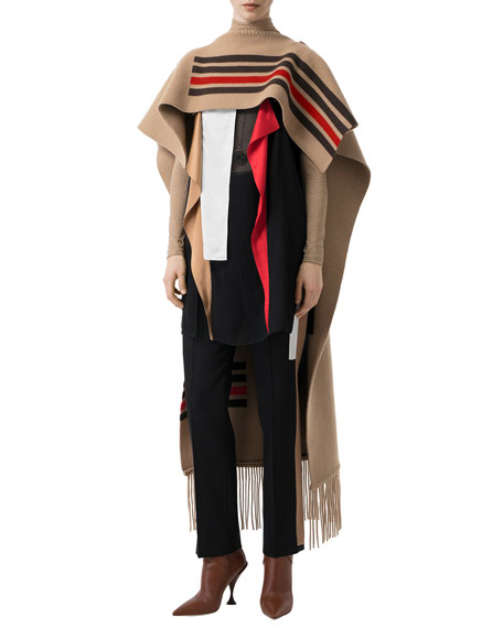Burberry Striped Wool-Cashmere Cape