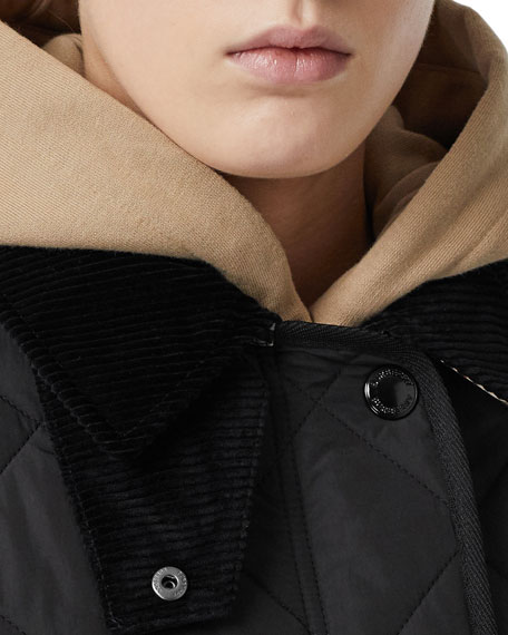 Burberry Cotswold Quilted Barn Jacket, Black