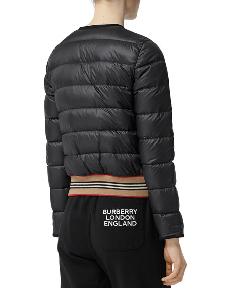 Burberry Bruntsfield Stripe-Hem Quilted Bomber Jacket