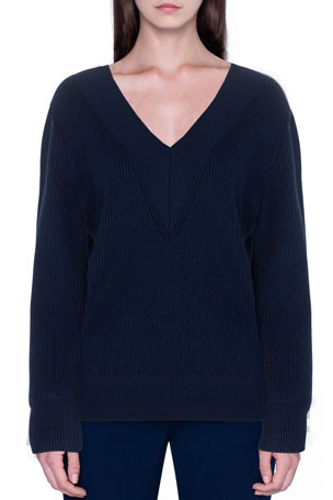 Akris Cashmere Silk Ribbed V-Neck Sweater