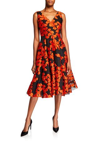 New Women Summer Floral Print Textured brocade fabric Off White Drop Dress