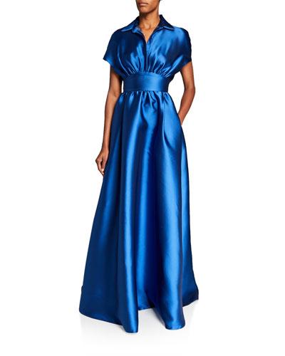 Fluid Duchess Satin Shirt-Top Gown