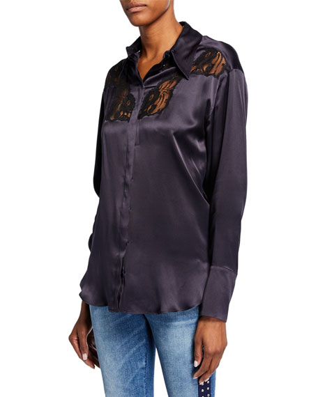 Stella McCartney Silk Lace-Yoked Western Blouse