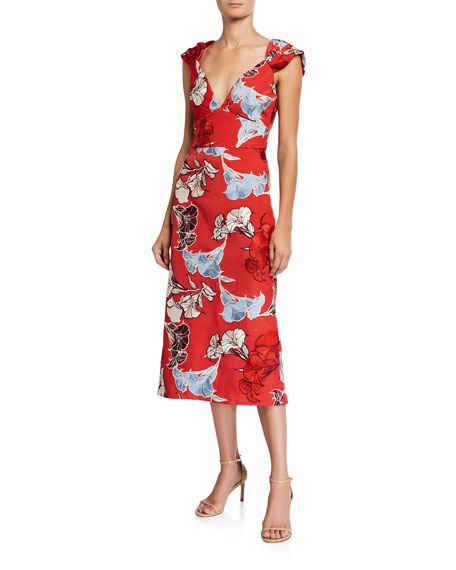 Johanna Ortiz Spring Perfumes Floral-Embroidered Crepe de Chine Dress