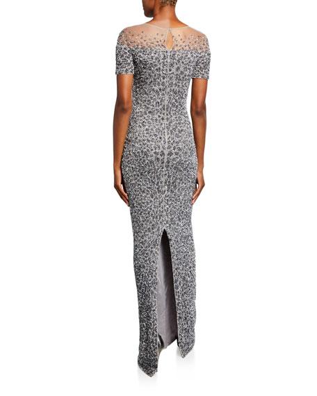 Pamella Roland Snow-Leopard Crunchy Sequined Dress