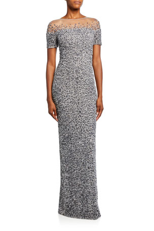 Pamella Roland Snow-Leopard Crunchy Sequined Dress