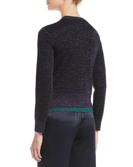 Escada Open-Front Metallic-Knit Cardigan