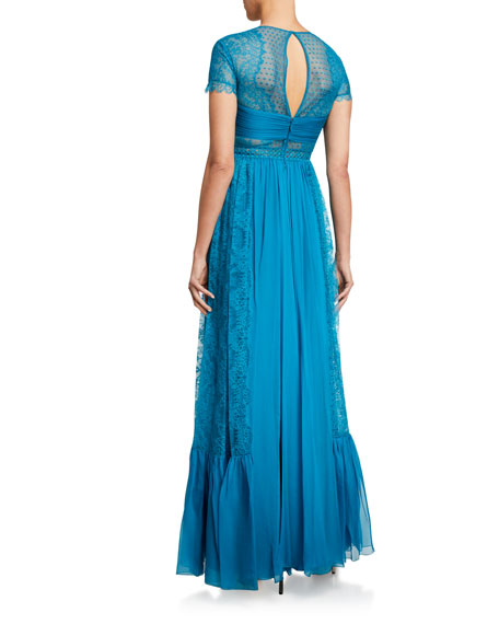 Zuhair Murad Sora Silk A-Line Gown w/ Lace Trim