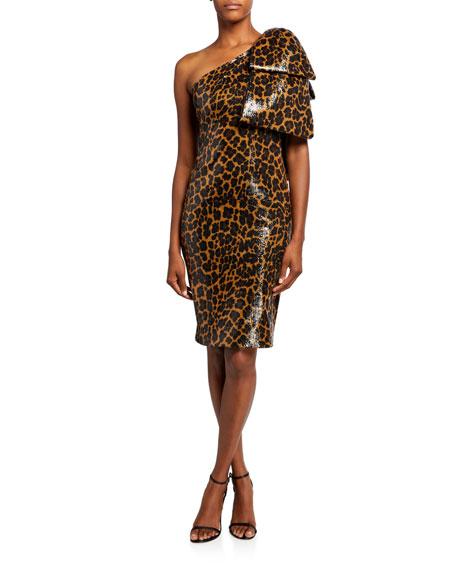 Pamella Roland Sequined One-Shoulder Cocktail Dress