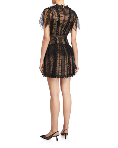 Zuhair Murad Maya Lace V-Neck Mini Dress