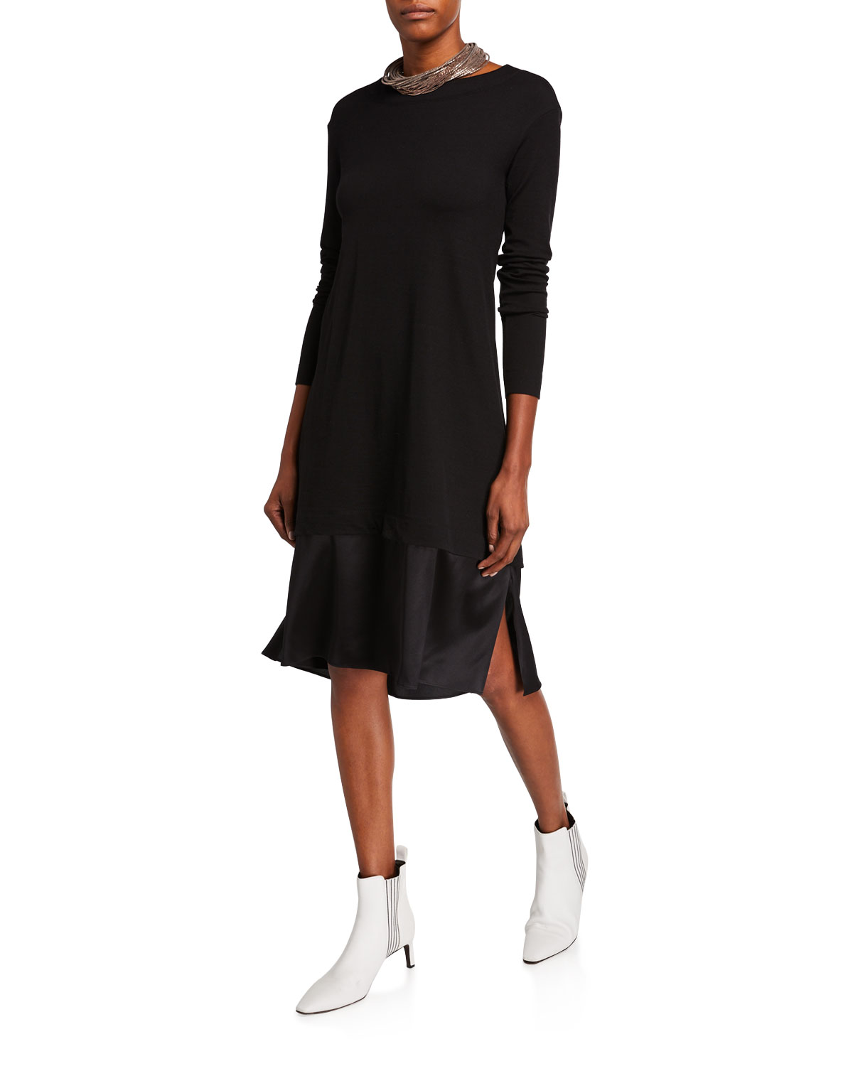 Brunello Cucinelli Wool Jersey Satin-Lined Dress