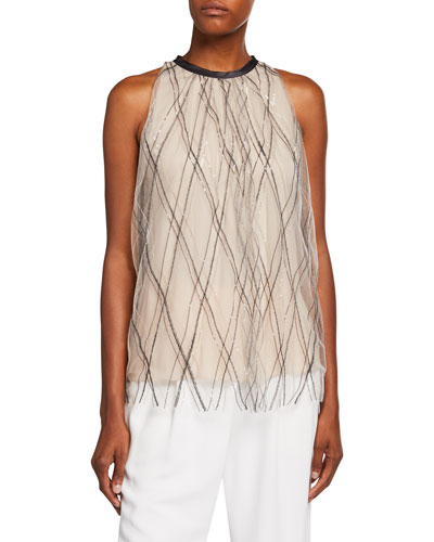 Argyle Monili-Beaded Tulle Blouse