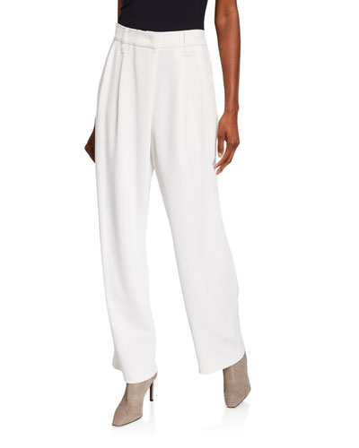 Pleated Crepe Cady Pants