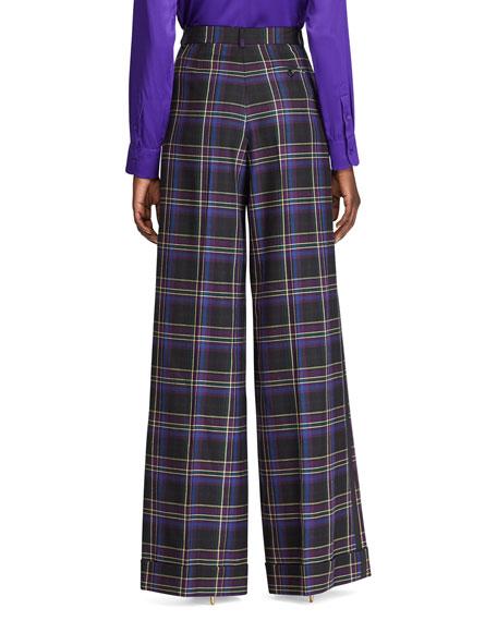 Ralph Lauren Collection Alana Wide-Leg Tux-Striped Pants