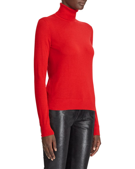 Ralph Lauren Collection Cashmere Jersey Turtleneck Sweater, Red
