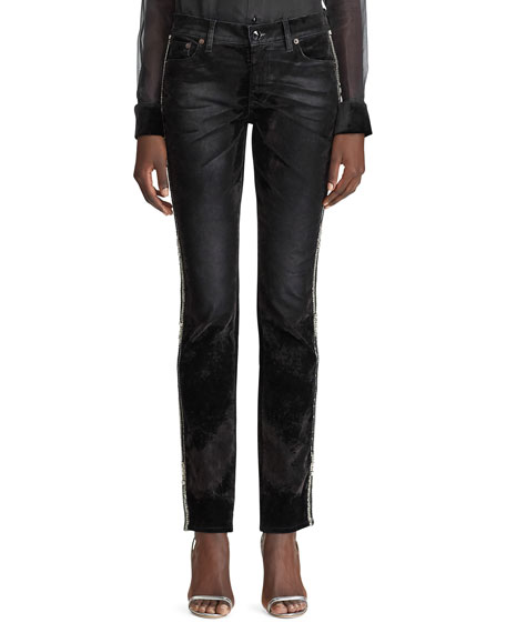 Ralph Lauren Collection Crystal-Striped Worn Velvet Jeans