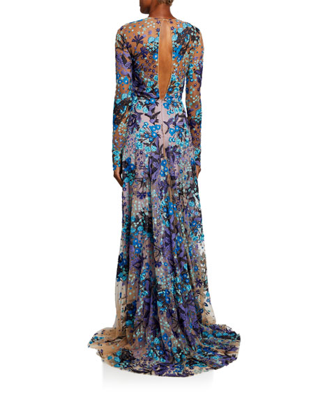 Naeem Khan Print Long-Sleeve Gown