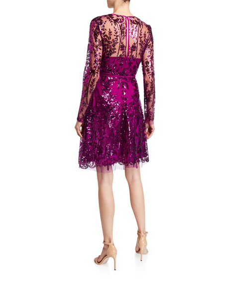 Naeem Khan V-Neck Sequined Tulle A-Line Dress