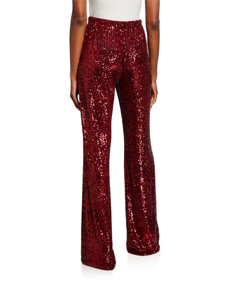 Image 2 of 3: Naeem Khan Sequined Tie-Waist Pant, Red