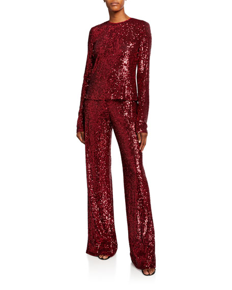 Image 3 of 3: Naeem Khan Sequined Tie-Waist Pant, Red
