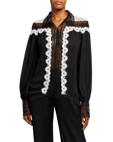 Image 1 of 2: Naeem Khan Lace-Collar Embroidered Top