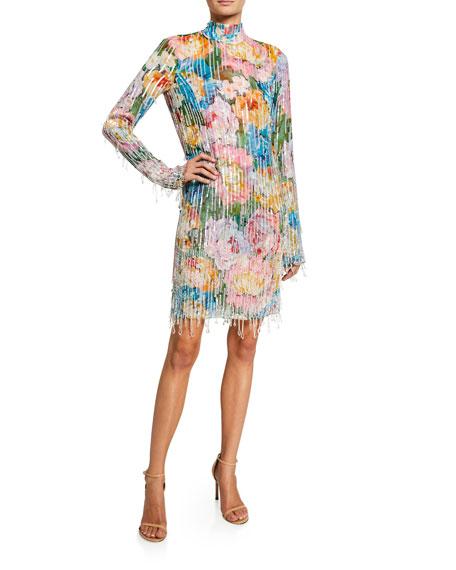 Escada Beaded Floral-Print Turtleneck Dress