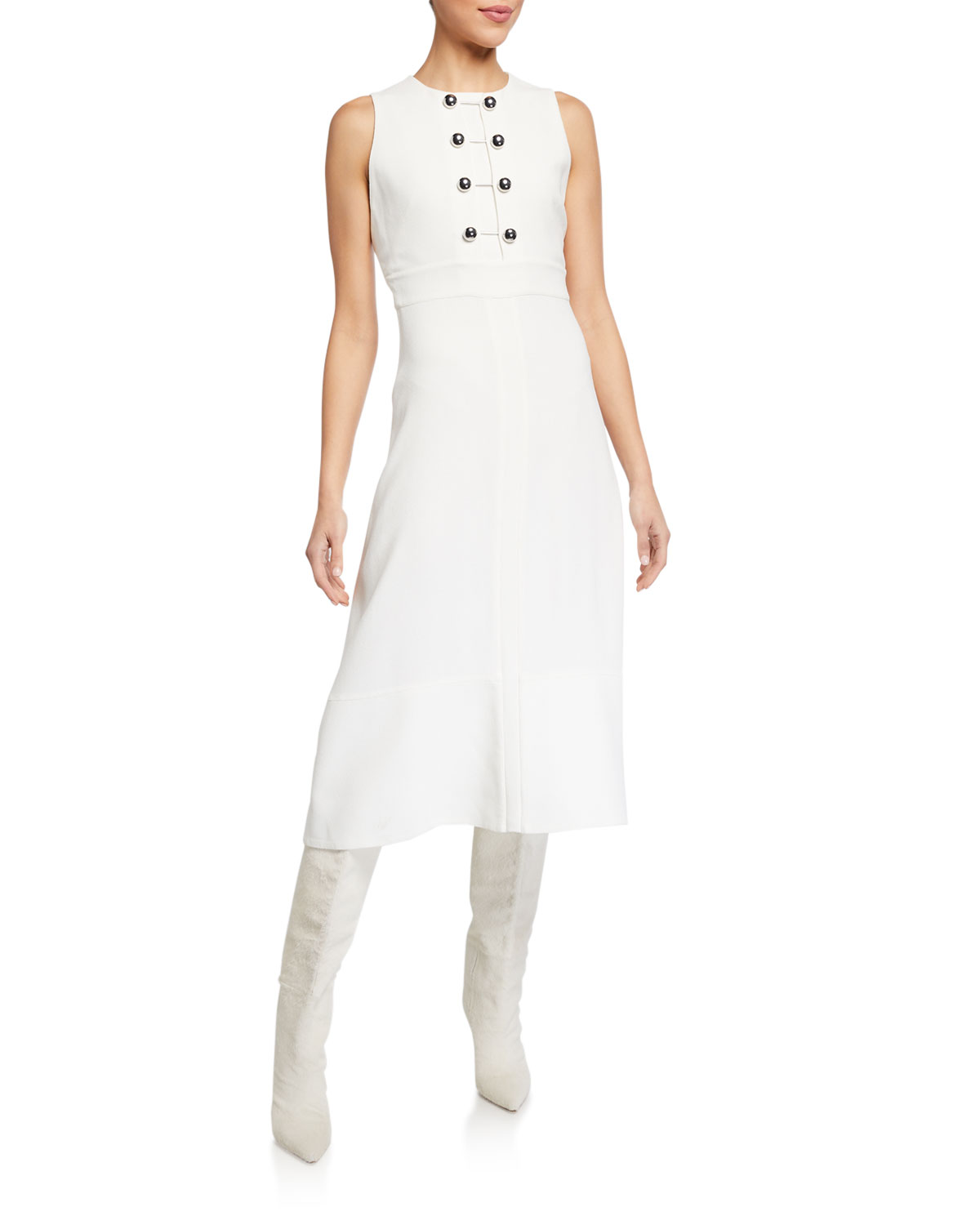 Proenza Schouler Sleeveless Barbell-Closure Dress