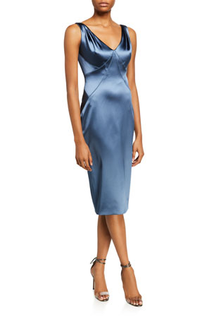 Zac Posen Stretch Satin V-Neck Dress