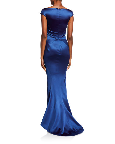Image 2 of 2: Zac Posen Off-the-Shoulder Satin Mermaid Gown