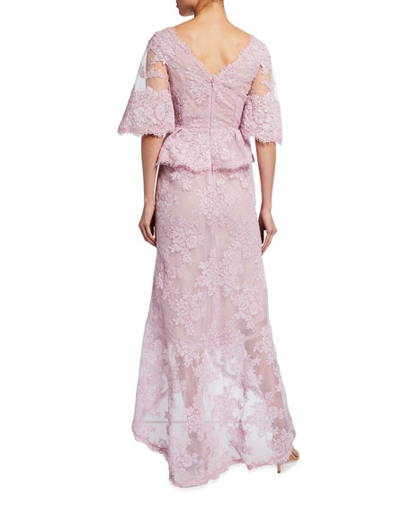 Image 2 of 2: Marchesa Flutter-Sleeve Lace Gown