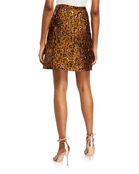 Zac Posen Leopard A-line Skirt