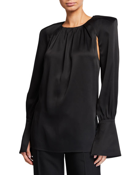 Khaite Kirsty Fluid Satin Padded Shoulder Blouse