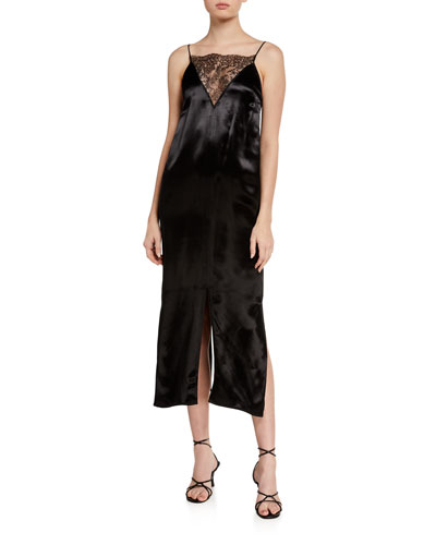 Leandra Lace-Neck Slip Dress