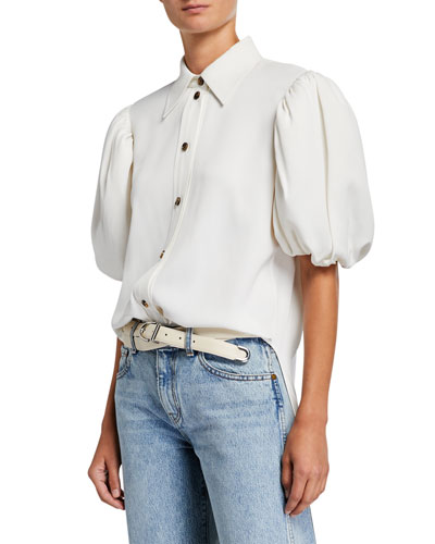 Roberta Puff-Sleeve Button Front Top