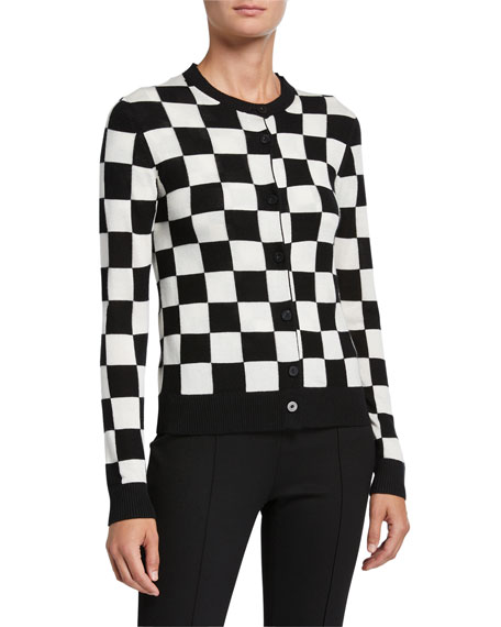 Rosetta Getty Checkered Silk-Cashmere Cardigan Sweater