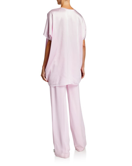 Rosetta Getty Satin Asymmetric Caftan Top