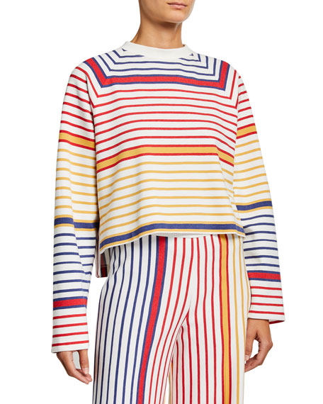 Rosetta Getty Striped Cocoon Crewneck Sweater