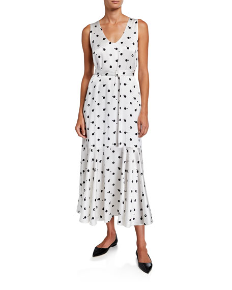 Rosetta Getty Dresses SELF-BELTED FLORAL SATIN DRESS