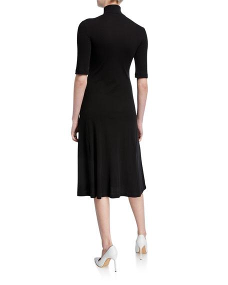 Rosetta Getty Cropped-Sleeve Zip-Front Turtleneck Sweater Dress