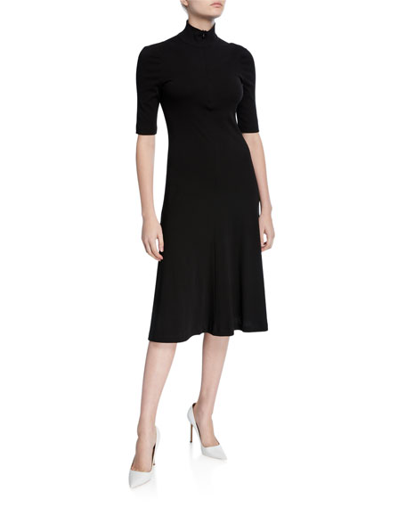 Rosetta Getty Dresses CROPPED-SLEEVE ZIP-FRONT TURTLENECK SWEATER DRESS